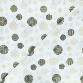 Tissu coton Golden ornaments - blanc x 10cm