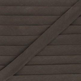 Biais tout textile 20 mm - chocolat x 1m
