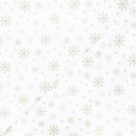 Cotton fabric - white Golden snowflakes x 10cm