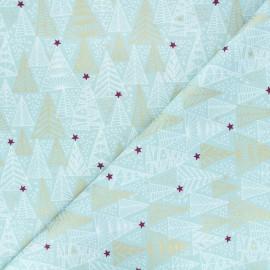 Tissu coton Golden trees - bleu x 10cm