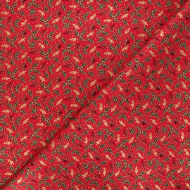 Cotton fabric - red Golden houx x 10cm