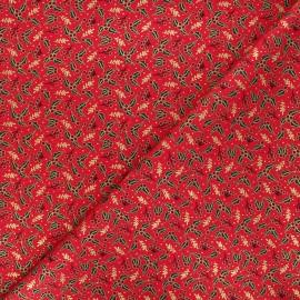 Tissu coton Golden houx - rouge x 10cm