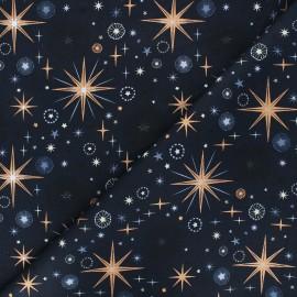 Cotton fabric - night blue Rosegold firework x 10cm