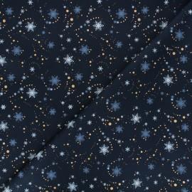 Cotton fabric - night blue Rosegold snow x 10cm