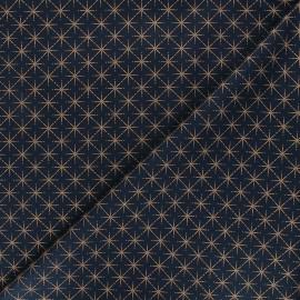 Tissu coton Rosegold stars - bleu nuit x 10cm