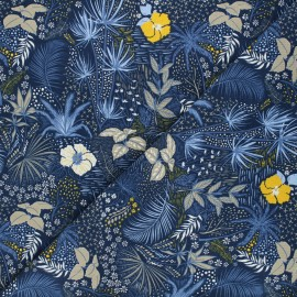 Tissu jersey Nuit tropicale - bleu x 10cm