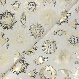 Linen aspect polycotton fabric - black/gold Ex-voto x 10cm