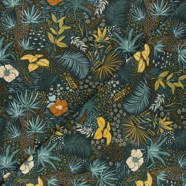 Printed jersey fabric - mustard yellow Nuit tropicale x 10cm