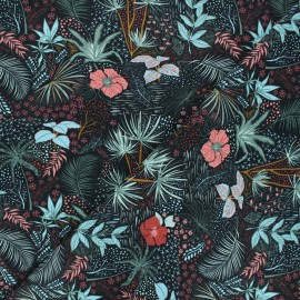 Printed jersey fabric - red Nuit tropicale x 10cm
