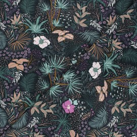 Printed jersey fabric - pink Nuit tropicale x 10cm