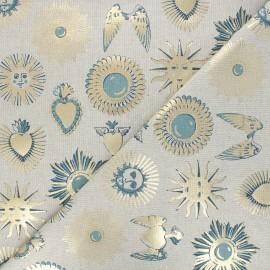 Linen aspect polycotton fabric - blue/gold Ex-voto x 10cm