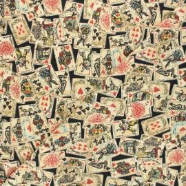 Tissu coton cretonne Le jeu d'Alice - noir x 10cm