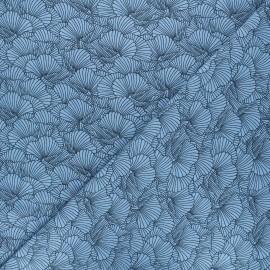 Tissu jersey Flowa - bleu x 10cm