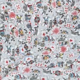 Tissu coton cretonne Le jeu d'Alice - gris x 10cm