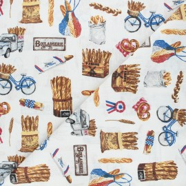 Tissu coton cretonne Baguette - écru x 10cm