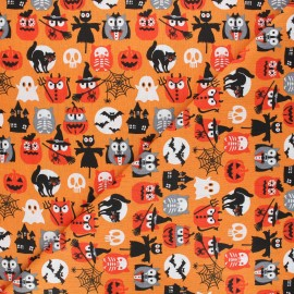 Cretonne cotton fabric - orange Hibou'lloween x 10cm