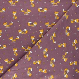 Tissu jersey Renard roux - violet x 10cm