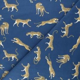 Printed jersey fabric - navy blue Struty leopard x 10cm