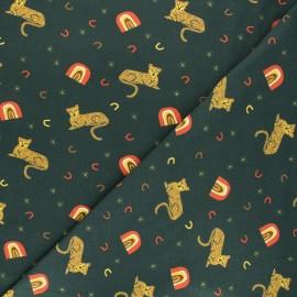 Printed jersey fabric - green Rainbow cheetah x 10cm