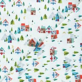 Tissu coton Makower UK Santa express Scenic - blanc x 10cm