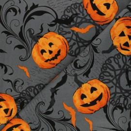 Andover Fabrics cotton fabric - grey Pumpkin Scroll x 10cm