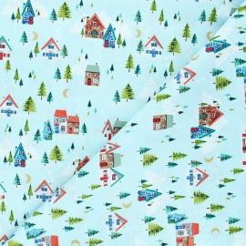 Tissu coton Makower UK Santa express Scenic - bleu x 10cm