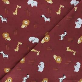 Printed jersey fabric - burgundy Baby savannah x 10cm