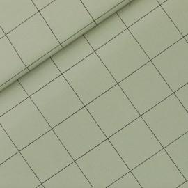 See you at six cotton canvas fabric - tea green Thin grid XL x 10 cm