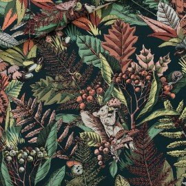 Tissu See you at six toile de coton Autumn joy - vert forest river x 10cm