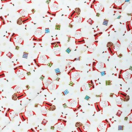 Tissu coton Makower UK Santa express Santa - écru x 10cm