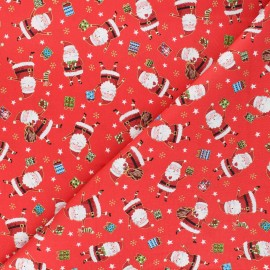 Makower UK cotton fabric Santa express - red Santa x 10cm