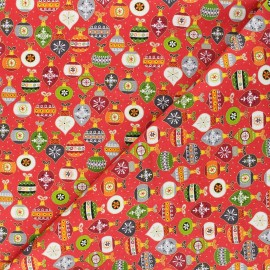 Makower UK cotton fabric Santa express - red Baubles x 10cm