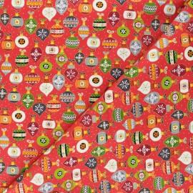 Tissu coton Makower UK Santa express Baubles - rouge x 10cm
