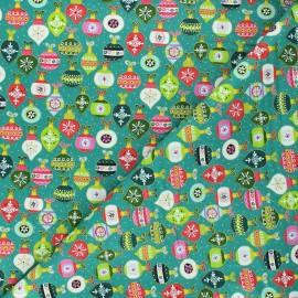 Makower UK cotton fabric Santa express - lagoon Baubles x 10cm