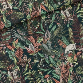 See you at six cotton twill fabric - forest river green Autumn joy x 10 cm