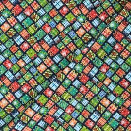Makower UK cotton fabric Santa express - midnight blue Presents x 10cm