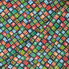 Tissu coton Makower UK Santa express Presents - bleu nuit x 10cm