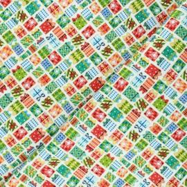 Tissu coton Makower UK Santa express Presents - écru x 10cm