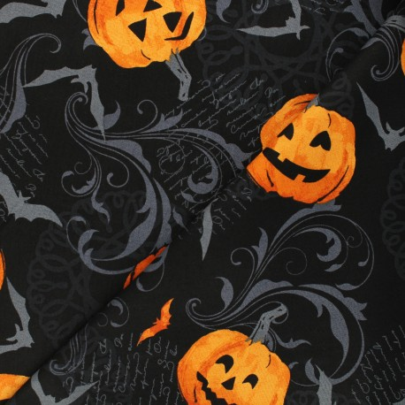 Andover Fabrics cotton fabric - black Pumpkin Scroll x 10cm
