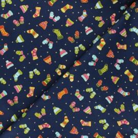 Makower UK cotton fabric Santa express - midnight blue Mittens x 10cm