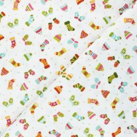 Makower UK cotton fabric Santa express - raw Mittens x 10cm