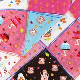 Tissu Tea Party Mosaïque rose x 10cm