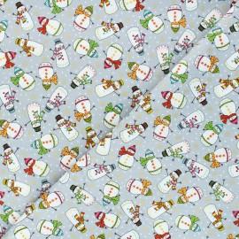 Tissu coton Makower UK Santa express Snowman - gris x 10cm