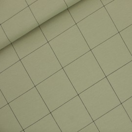 See you at six french terry fabric - tea green Thin grid XL x 10 cm