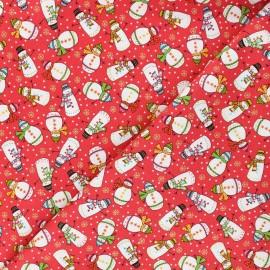 Tissu coton Makower UK Santa express Snowman - rouge x 10cm