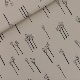 See you at six french terry fabric - castle grey Birches x 10 cm