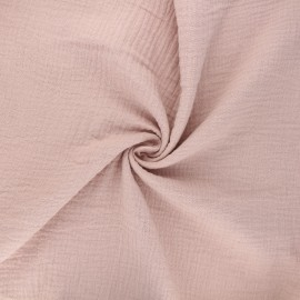 Tissu double gaze de coton MPM - rose brume x 10cm