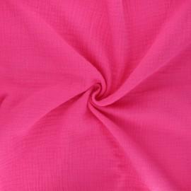 Tissu double gaze de coton MPM Oeko-tex - rose bonbon x 10cm