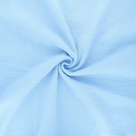 Tissu double gaze de coton MPM - ciel x 10cm