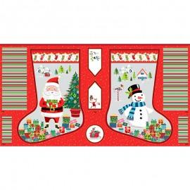 Tissu panneau coton Makower UK Santa express Stocking - rouge x 60cm